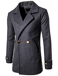 cheap -Men's Daily Basic Fall & Winter Long Trench Coat, Solid Colored Turndown Long Sleeve Polyester Dark Gray
