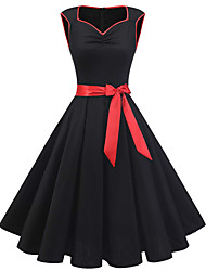 cheap -Women's Black Dress 1950s Vintage Going out Swing Solid Colored Square Neck Bow S M Slim