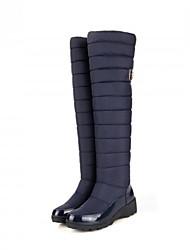 cheap -Women's Boots Snow Boots Flat Heel Round Toe Mesh Knee High Boots Fall & Winter Black / Blue