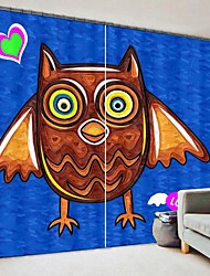 cheap -Children's Painting Style Owl Digital Printing 3D Curtain Shading Curtain High Precision Black Silk Fabric High Quality Curtain