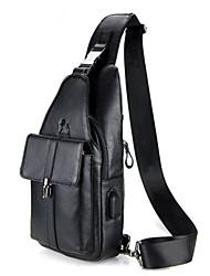 cheap -Men's Zipper Cowhide Sling Shoulder Bag Animal Black / Brown / Gray
