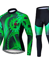 cheap -TELEYI Men's Long Sleeve Cycling Jersey with Tights Black / Green Bike Padded Shorts / Chamois Clothing Suit Thermal / Warm Windproof Quick Dry Winter Sports Polyester Solid Color Mountain Bike MTB