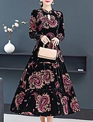 cheap -Women's Plus Size Black Dress Elegant Vintage Daily Wear Going out Sheath Swing Floral Print M L / Velvet