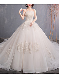 cheap -A-Line Strapless Court Train Tulle Strapless Made-To-Measure Wedding Dresses with Beading / Appliques 2020