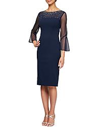 cheap -Sheath / Column Jewel Neck Knee Length Stretch Satin 3/4 Length Sleeve Elegant / Plus Size Mother of the Bride Dress with Beading 2020 / Illusion Sleeve