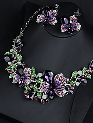 cheap -Women's Purple Clear Green AAA Cubic Zirconia Collar Necklace Chandelier Heart Fashion Elegant Earrings Jewelry White / Purple / Green For Wedding Engagement Holiday 1 set