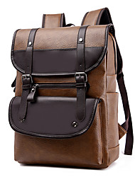 cheap -Men's PU Leather School Bag Rucksack Commuter Backpack Large Capacity Waterproof Zipper Tiered School Climbing Backpack Black Khaki Brown