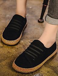 cheap -Women's Flats Flat Heel Round Toe Suede Winter Black / Camel / Red