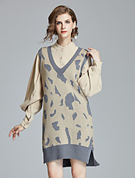 cheap -Women's Basic Shirt - Leopard, Ruched Split Dress