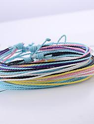 cheap -4pcs Women's Wrap Bracelet Vintage Bracelet Earrings / Bracelet Layered Weave Simple Classic Trendy Fashion Colorful Cord Bracelet Jewelry Rainbow For Daily School Street Festival / Loom Bracelet