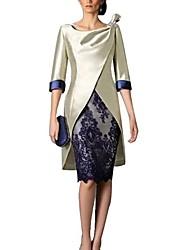 abordables -Fourreau / Colonne Bijoux Mi-long Polyester Manches 3/4 Rétro Vintage / Grande Taille Robe de Mère de Mariée  avec Dentelle 2020