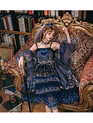 cheap -Classical Glamorous & Dramatic Classic Lolita Dress Female Japanese Cosplay Costumes Ink Blue Butterfly Sexy Lace Sleeveless Sleeveless Knee Length / Headpiece / Necklace / Veil / Necklace