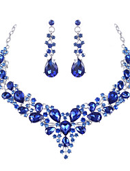 cheap -Women's Clear Blue Red AAA Cubic Zirconia Drop Earrings Collar Necklace Chandelier Heart Fashion Elegant Rhinestone Earrings Jewelry Transparent / White / Blue For Wedding Engagement Holiday 1 set