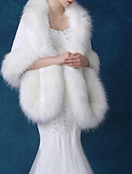 cheap -Sleeveless Shawls / Capes Faux Fur / Imitation Cashmere / Fox Fur Wedding / Party / Evening Women's Wrap With Solid / Fur