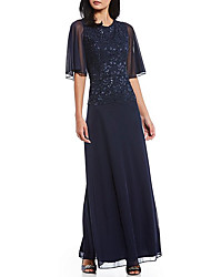 cheap -A-Line Jewel Neck Floor Length Chiffon Half Sleeve Plus Size Mother of the Bride Dress with Crystals / Lace 2020