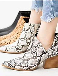 cheap -Women's Boots Print Shoes Block Heel Pointed Toe Suede / PU Booties / Ankle Boots Vintage / Casual Spring &  Fall / Fall & Winter Black / Leopard / Beige