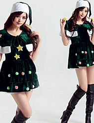 cheap -Christmas Trees Dress Women's Adults' Costume Party Christmas Christmas Cotton Dress / Hat