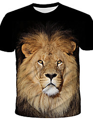 cheap -Men's Daily Holiday Street chic / Exaggerated T-shirt - 3D / Animal / Tie Dye Lion, Print Black