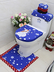 cheap -1 Set/3Pc Christmas Snowman Toilet Cover Set Chinese Style Embroidered Bathroom Decor Anti-Slip Mat Rug Xmas Decoration