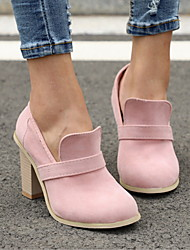 cheap -Women's Heels Chunky Heel Round Toe PU Fall & Winter Black / Blue / Pink