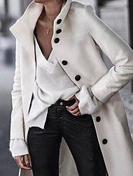 cheap -Women's Daily Fall & Winter Long Coat, Solid Colored Stand Long Sleeve Polyester White