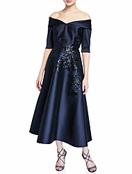 cheap -A-Line Off Shoulder Ankle Length Satin / Sequined Half Sleeve Elegant & Luxurious Mother of the Bride Dress with Ruching 2020
