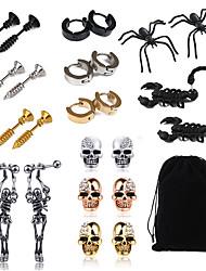cheap -Men's Stud Earrings Drop Earrings Classic Skull Spiders Scorpion Statement Classic Vintage Trendy Fashion Stainless Steel Earrings Jewelry Black For Halloween Gift Street Club Festival 1 set