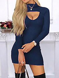 cheap -Women's Mini Slim Sheath Dress - Solid Colored Crew Neck Black Blue Red S M L XL
