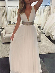 cheap -A-Line Elegant Formal Evening Dress Plunging Neck Sleeveless Floor Length Chiffon with Sash / Ribbon Beading Draping 2020