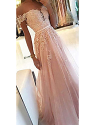 cheap -A-Line Off Shoulder Sweep / Brush Train Chiffon Cute / Elegant Prom Dress with Appliques / Sash / Ribbon 2020