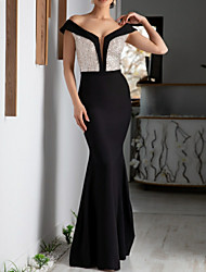 cheap -Sheath / Column Color Block Formal Evening Dress Plunging Neck Short Sleeve Floor Length Sequined with Sequin 2020