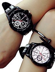 cheap -Couple's Sport Watch Quartz Silicone Black No Chronograph Cute Creative Analog Outdoor New Arrival - Black One Year Battery Life