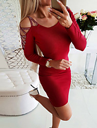 cheap -Women's Bodycon Sheath Dress - Solid Colored Blushing Pink Red S M L XL
