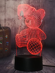 cheap -Cute Bear With 3D LED Hat Night Light 7 Colors Change Bedroom Baby Sleeping Table Lamp Child  Christmas Gift