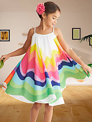 cheap -Kids Toddler Little Girls' Dress Floral Patchwork Sundress Rainbow Knee-length Sleeveless Cute Sweet Dresses Children's Day Regular Fit
