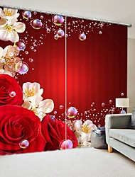 cheap -Red Rose And Pear Flower Digital Printing 3D Curtain Shading Curtain High Precision Black Silk Fabric High Quality Curtain