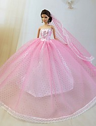 cheap -Doll Dress Party / Evening For Barbiedoll Lace Organza Dress For Girl's Doll Toy