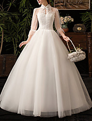 cheap -A-Line High Neck Floor Length Tulle 3/4 Length Sleeve Made-To-Measure Wedding Dresses with Appliques / Bow(s) 2020