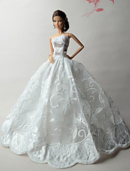 cheap -Doll Dress Wedding For Barbiedoll Lace Lace Organza Dress For Girl's Doll Toy
