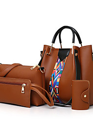 cheap -Women's Sashes / Ribbons PU Bag Set Embroidery 4 Pieces Purse Set Black / Brown / White
