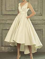 cheap -A-Line Wedding Dresses V Neck Asymmetrical Satin Regular Straps Simple Casual Vintage Little White Dress with Bow(s) 2021