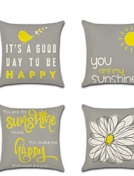 cheap -4 pcs Linen Pillow Cover, Floral Print Letter & Number Casual Fashion Throw Pillow