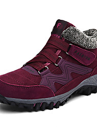 cheap -Women's Athletic Shoes Chunky Heel Round Toe Stitching Lace Nylon Booties / Ankle Boots Classic Fall & Winter Black / Dark Red / Purple
