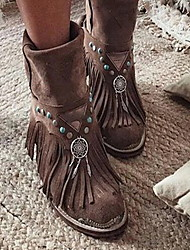cheap -Women's Boots Cowboy / Western Boots Flat Heel Round Toe Suede Booties / Ankle Boots Fall & Winter Brown