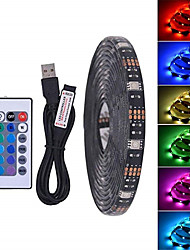 cheap -2m Light Sets / RGB Strip Lights 60 LEDs 5050 SMD 1 24Keys Remote Controller RGB+White Christmas / New Year's Waterproof / USB / Decorative USB Powered 1pc