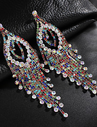 cheap -Women's Clear White Cubic Zirconia Drop Earrings Tassel Fringe Love Elegant Vintage Fashion Silver Earrings Jewelry Golden / Silver / Rainbow For Wedding Party Anniversary Engagement 1 Pair