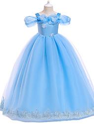 cheap -Cinderella Dress Masquerade Flower Girl Dress Girls' Movie Cosplay A-Line Slip Cosplay Vacation Dress Pink / Light Blue Dress Halloween Carnival Masquerade Tulle Polyester