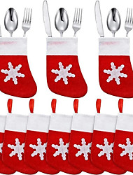 cheap -6PCS Christmas Knife Fork Bags Snowflake Cartoon Sock Shape Silverware Holder Tableware Bag for Restaurant Hotel Household