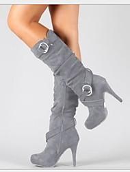 cheap -Women's Boots Stiletto Heel Round Toe Satin Fall Black / Light Brown / Gray