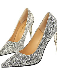cheap -Women's Wedding Shoes Stiletto Heel Pointed Toe Sequin Synthetics Classic / Minimalism Fall / Spring & Summer Black / White / Champagne / Party & Evening